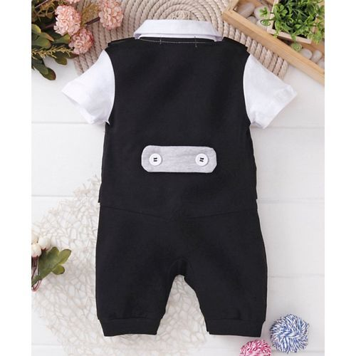 Mark & Mia Black Short Sleeves Party Suit Style Romper