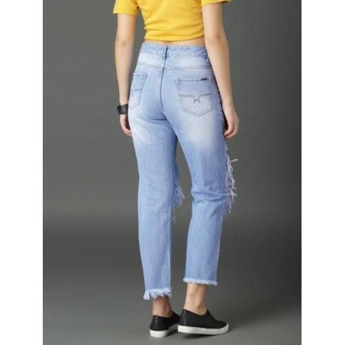 Roadster Blue Regular Fit Mid-Rise Highly Distressed Cropped Jeans