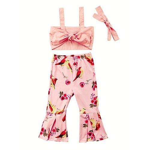 Awabox Pink Sleeveless Sun Top & Birds Printed Pant With Headband Set