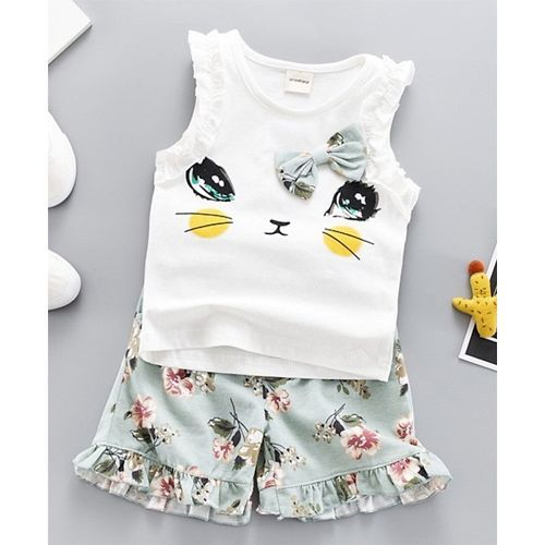 Awabox  White & Green Sleeveless Cat Print Top & Floral Print Shorts Set