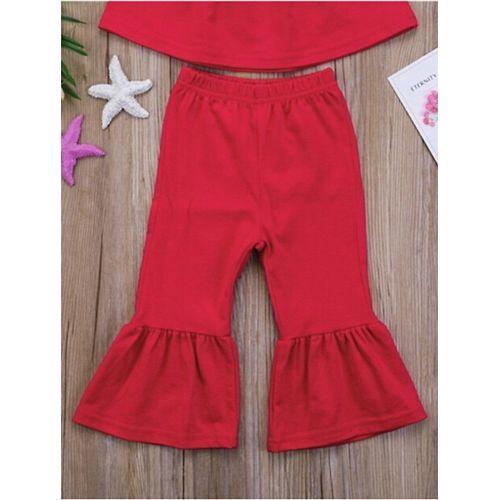 Pre Order - Awabox Half Sleeves Solid Cold Shoulder Top & Pant Set - Red