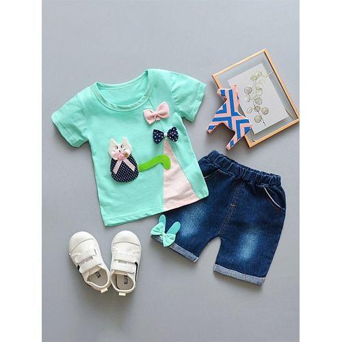 Pre Order - Awabox Cat & Bow Applique Short Sleeves Top & Shorts Set - Sea Green
