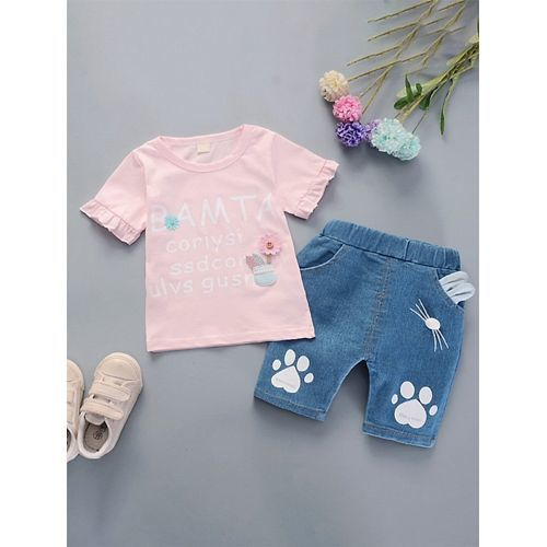 Pre Order - Awabox Words Print Half Sleeves Top & Shorts Set - Pink & Blue
