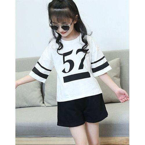 Awabox White & Black Printed Half Sleeves T- Shirt & Shorts Set