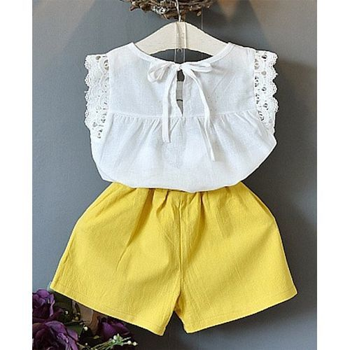 Pre Order - Awabox Cap Sleeves Lace Detailed Top & Shorts Set - Yellow