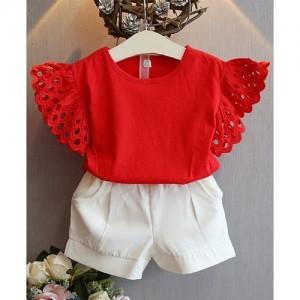 Awabox Short Sleeves Solid Top & Shorts Set - Red