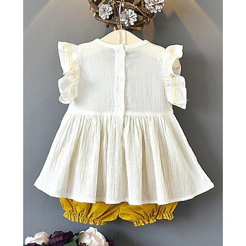 Pre Order - Awabox Solid Ruffle Sleeves Top & Shorts Set - Cream