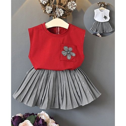 Pre Order - Awabox Flower Patch Sleeveless Top & Printed Skirt Set - Red