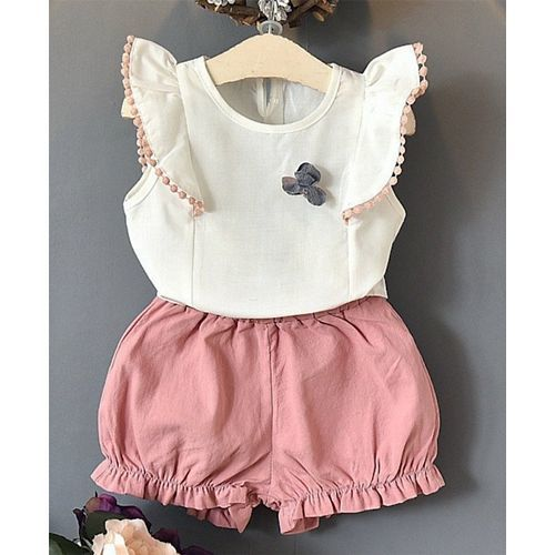 Pre Order - Awabox Cap Sleeves Top With Lace Detail & Shorts Set - Pink