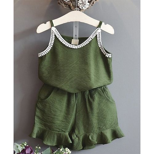 Pre Order - Awabox Lace Applique Singlet Top & Shorts Set - Green