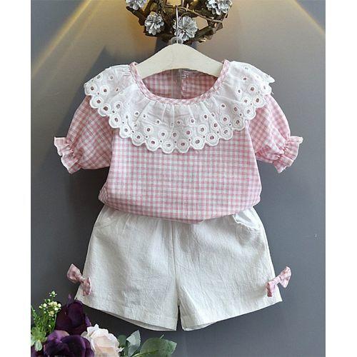 Pre Order - Awabox Small Checks Half Sleeves Top & Shorts Set - Pink