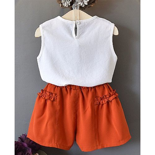 Pre Order - Awabox Cherry Embroidered Sleeveless Top With Shorts Set - Orange