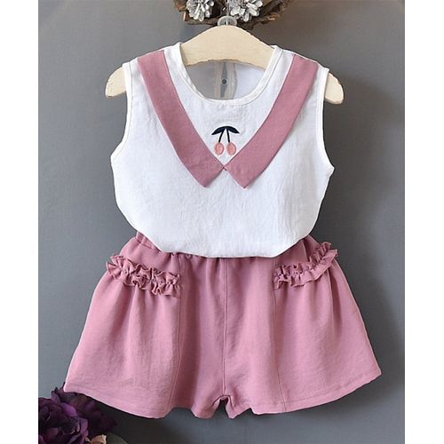 Pre Order - Awabox Cherry Embroidered Sleeveless Top With Shorts Set - Pink