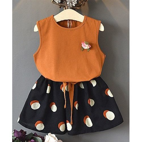 Awabox Brown Flower Applique Sleeveless Top With Dot Print Shorts Set