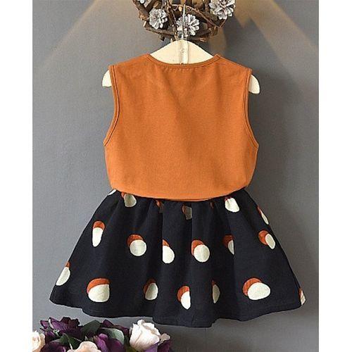 Awabox Brown Flower Applique Sleeveless Top With Dot Print Shorts Set