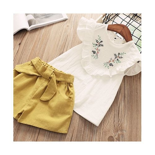 Pre Order - Awabox Yoke Embroidered Short Sleeves Top With Shorts Set - Yellow