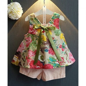 Green Floral Print Sleeveless Top & Shorts Set