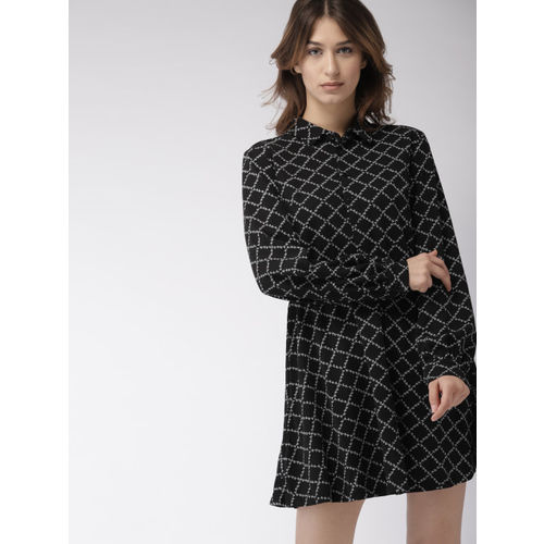FOREVER 21 Kendall + Kylie Women Black & White Printed Fit & Flare Dress