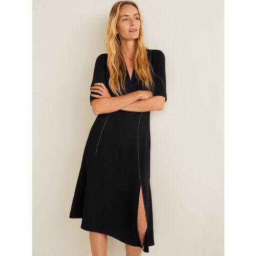 MANGO Women Black Solid Midi A-Line Dress