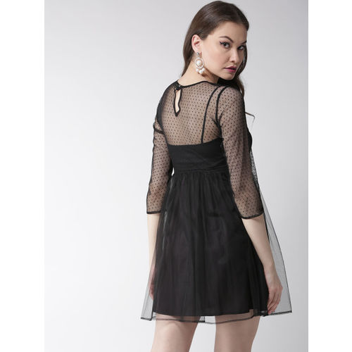 MISH Women Black Self-Design Net Fit and Flare Dress