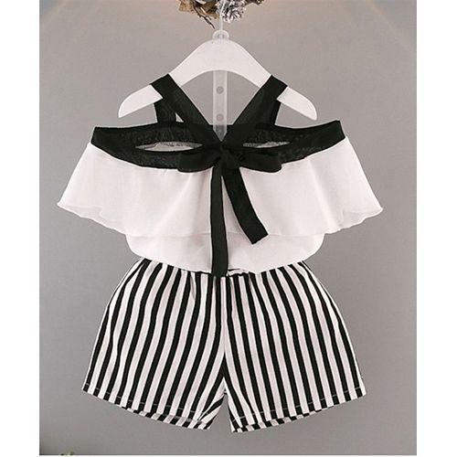 Pre Order - Awabox Half Sleeves Cold Shoulder Top & Striped Shorts Set - White