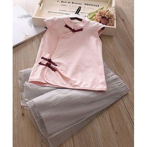 Awabox Pink Cap Sleeves Solid Top & Palazzo Set