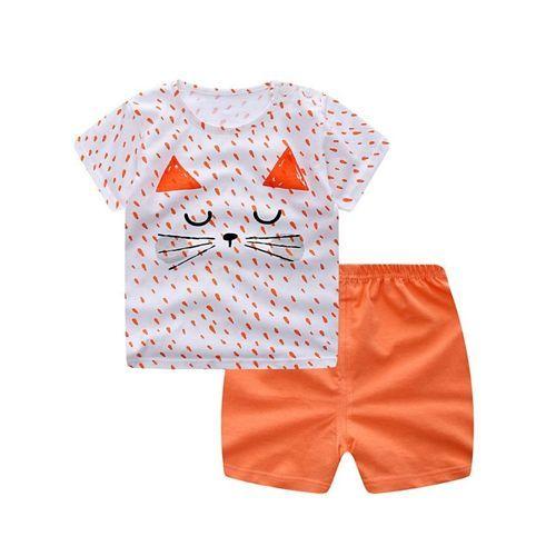 Pre Order - Awabox Half Sleeves Cat Face Print Tee & Shorts Set - Orange & White
