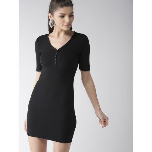 69613e0cfbc Buy FOREVER 21 Women Black Solid Bodycon Dress online