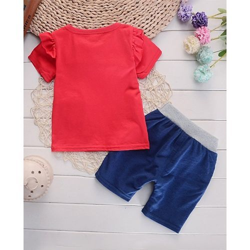 Pre Order - Awabox Bow Applique Half Sleeves Top & Short Set - Red