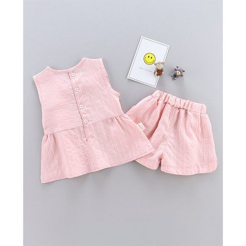 Pre Order - Awabox Sleeveless Striped Peplum Top & Short Set - Pink