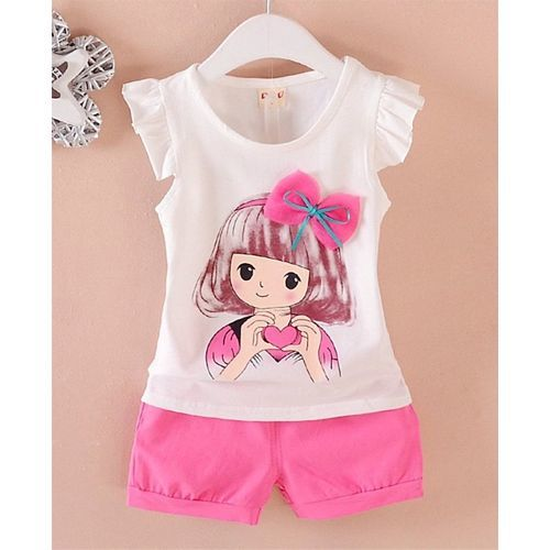 Pre Order - Awabox Girl Print Short Sleeves Top With Bottom Set - White