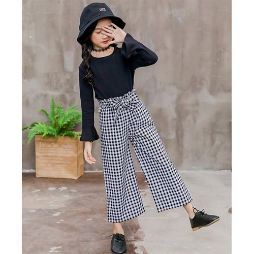 Awabox Grey Full Sleeves Flared Top With Checkered Bottom Set