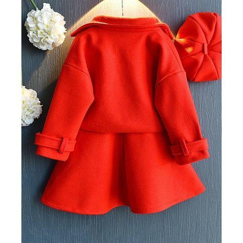 Pre Order - Awabox Solid Jacket & Skirt Set - Red
