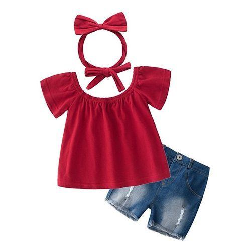 Pre Order - Awabox Solid Half Sleeves Top & Denim Shorts Set - Red & Blue