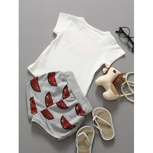 Awabox White & Grey Watermelon Print Short Sleeves Tee & Shorts Set