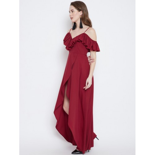 496666334eb Buy Berrylush Red Polyester Solid Maxi Dress online