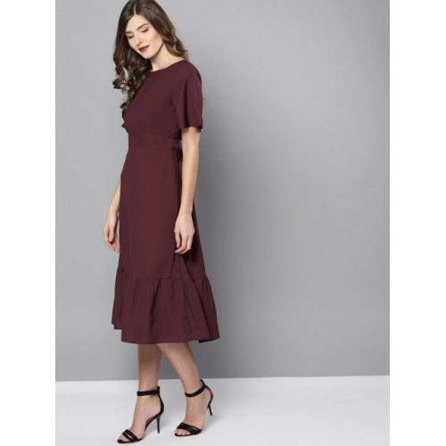 Marie Claire Burgundy Solid Midi A-Line Dress