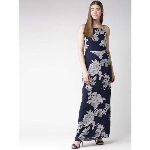 aac16c5d8bc9 Buy QUIERO Women Navy Blue & Grey Floral Print Maxi Dress online ...