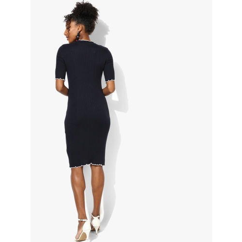 DOROTHY PERKINS Women Navy Blue Self Striped Bodycon Dress