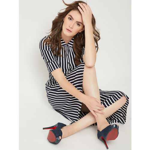 Miss Chase Women Navy Blue Striped Shirt Dress