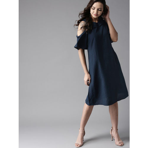 HERE&NOW Women Navy Blue Solid A-Line Dress