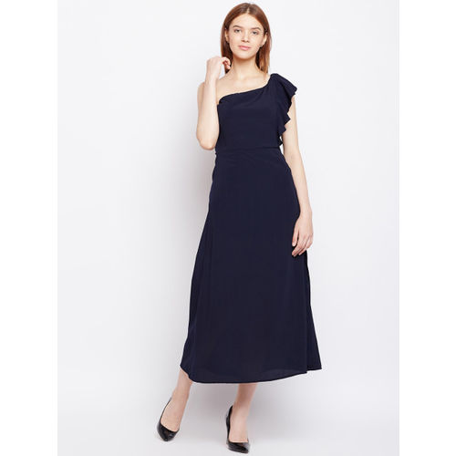Nun Women Navy Blue Solid Fit and Flare Dress