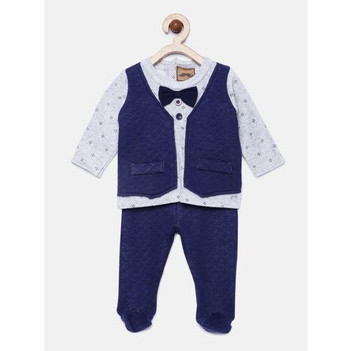 little gent Boys Blue & Grey Self Design Clothing Set