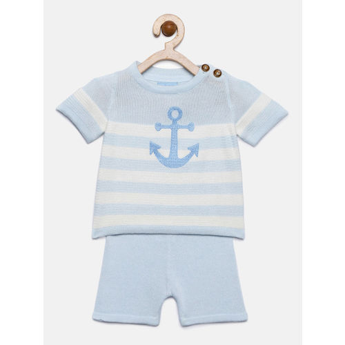 Rock-a-Bye Baby Boys Blue & White Striped T-shirt with Shorts