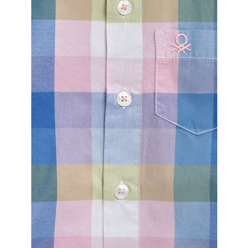 United Colors of Benetton Boys Blue & Pink Checked Casual Shirt