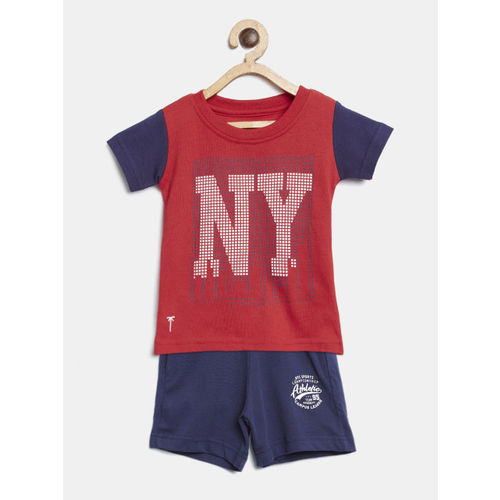Palm Tree Boys Red & Navy Blue Printed T-shirt with Shorts
