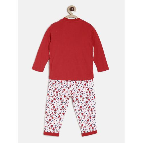 MINI KLUB Boys Red & White Printed Clothing Set
