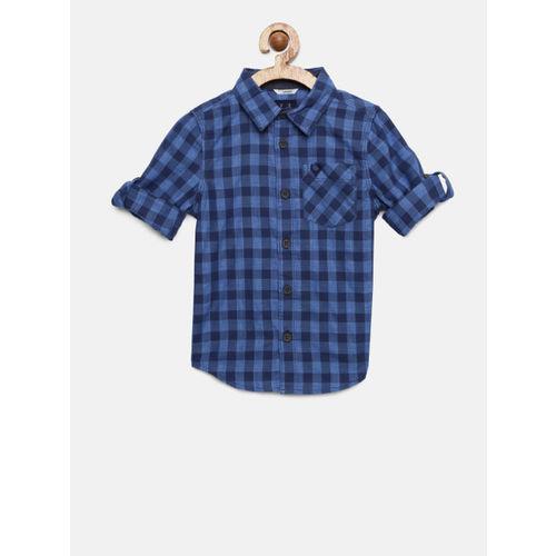 Allen Solly Junior Boys Blue Checked Casual Shirt