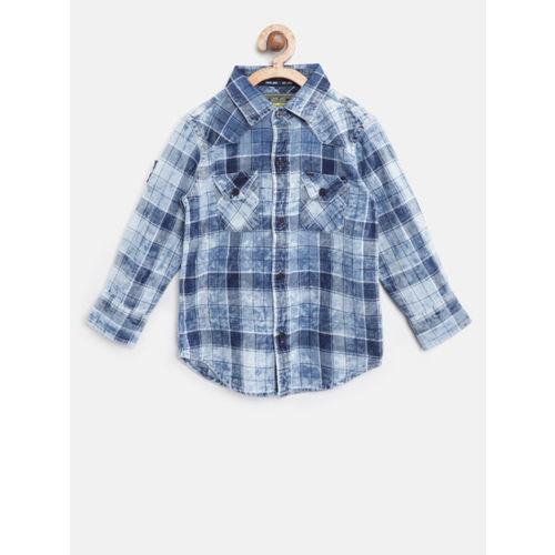 Gini and Jony Boys Blue & White Regular Fit Checked Denim Casual Shirt