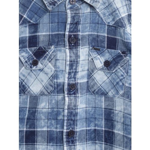 Gini and Jony Boys Blue & White Regular Fit Checked Denim Casual Shirt